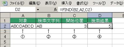 FIND関数の使用例